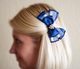 Blue barrette, woman brooch, blue white bow, crystals, pearls