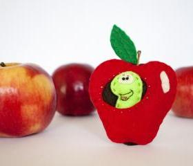 Apple with worm felt brooch, red, green, brown.