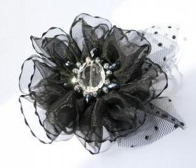 Black brooch, woman brooch, glass beads, chrystal.